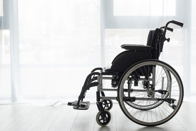 Close-up professional wheelchair indoors