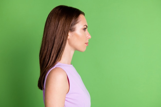 Close-up profile side view of her she nice-looking attractive pretty lovely cute winsome serious content girl pure natural skin care isolated green color background