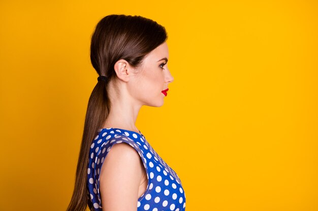 Close-up profile side view portrait of her she nice attractive pretty lovely winsome lovable content girlfriend isolated on bright vivid shine vibrant yellow color background