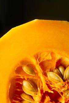 Close-up pumpkin with seeds
