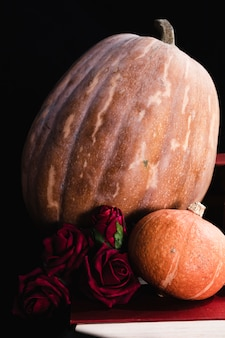 Close-up of pumpkins and roses