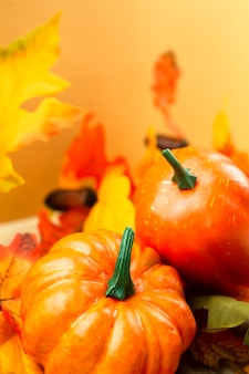 Close-up pumpkins with leaves