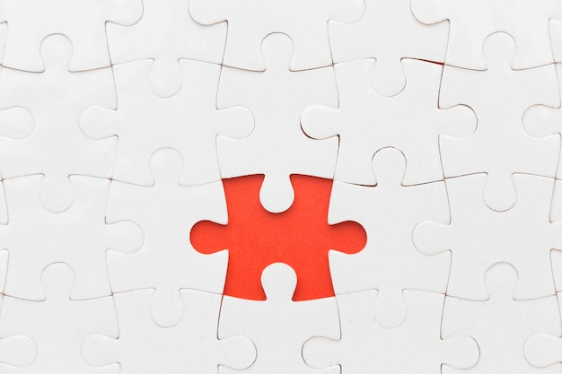 Close-up puzzle with one piece apart