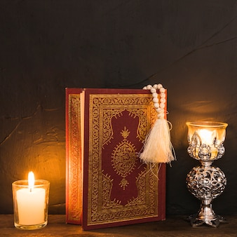 Close-up quran between candles