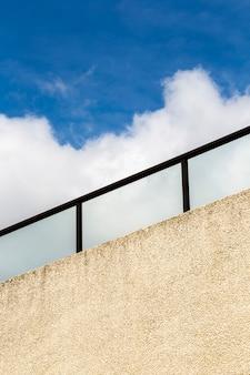 Close-up railing with blue sky