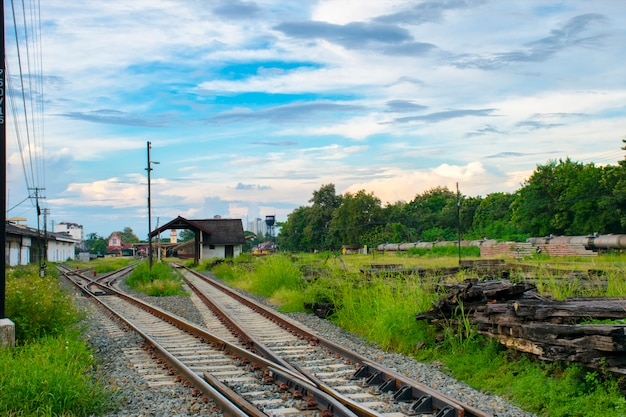 Close up railway tracks merge together  station at chiangmai , thailand
