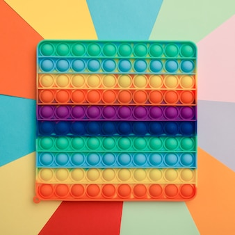 Close up rainbow silicone toy antistress pop it