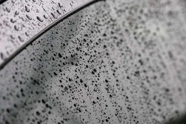 Close-up raindrops on the windshield