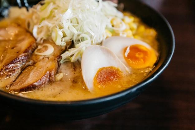 Close up ramen pork bone soup (tonkotsu ramen) with chashu pork