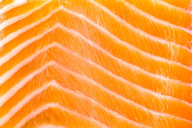 Close-up of raw fresh salmon fillet texture