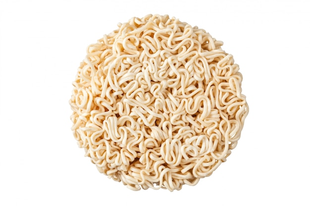 Close up raw instant noodles isolated on white background on top view.