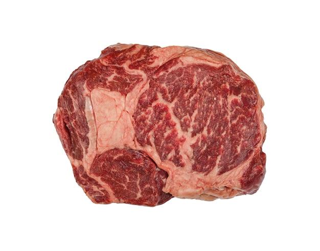 고립 된 원시 ribeye 쇠고기 스테이크를 닫습니다