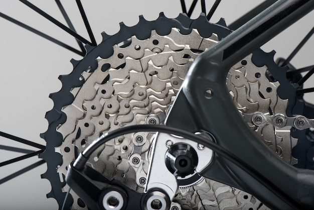 Close up rear cassette of the mountain bike