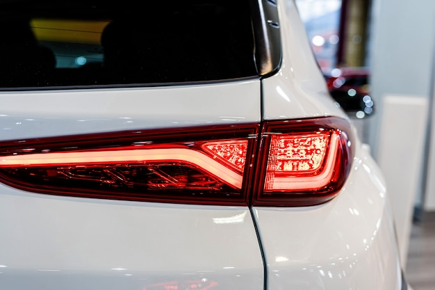 Close-up of the rear light of a modern car. exterior details.