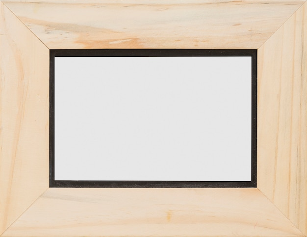 Close-up of rectangular white blank wooden frame