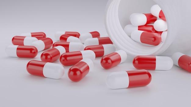 Крупным планом красные и белые капсулы таблетки на белом фоне d иллюстрации