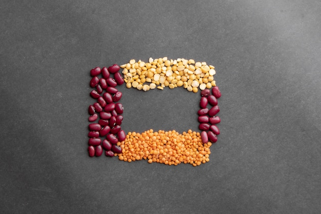 Close up red beans, pea, lentils background, flat lay