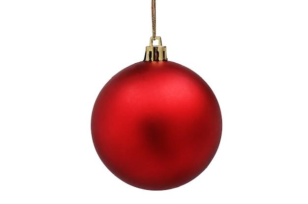 テーブルの上の赤いクリスマスボールを閉じます