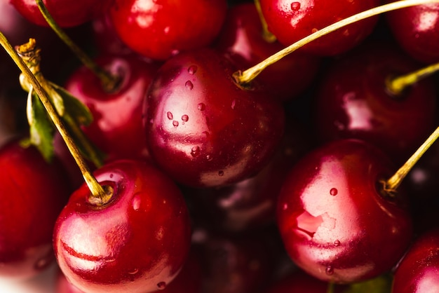 Close-up red delicious cherries