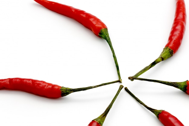 Close up red hot chili isolated on a white