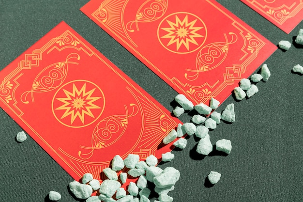 Close up red tarot cards on table