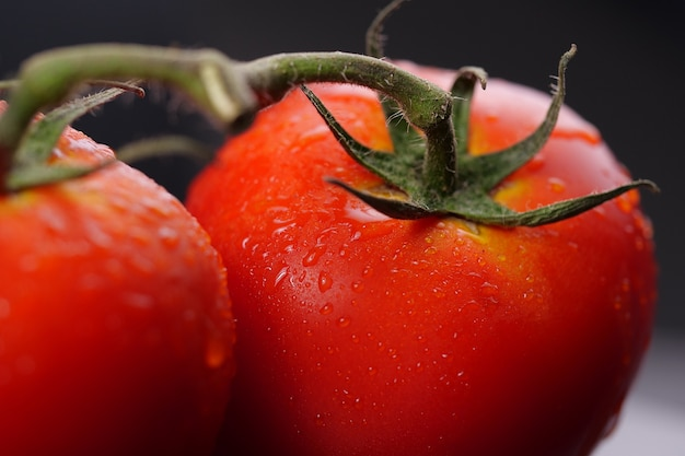 Close-up of red tomato with water drop