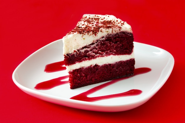 Close up of red velvet cake slice