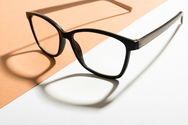 Close-up retro eyeglasses with shadow