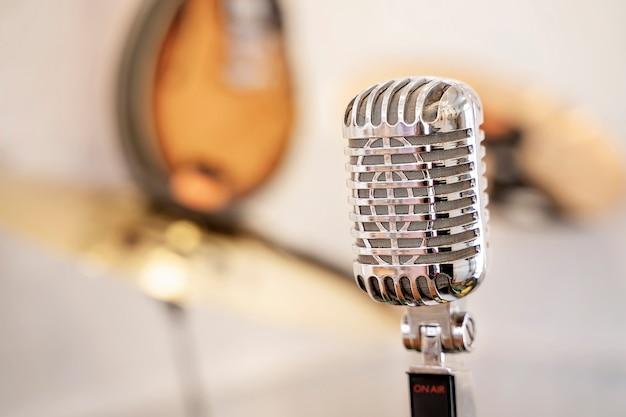 Close-up of retro microphone