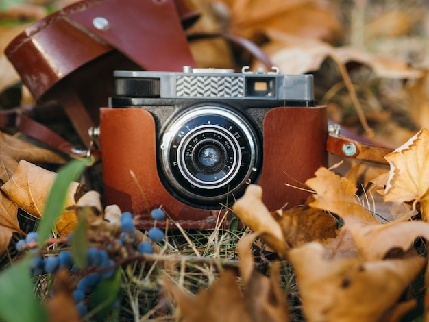 Close-up of a retro photo camera on ground