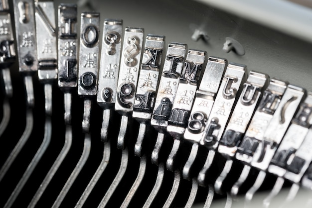 Close up of retro style typewriter