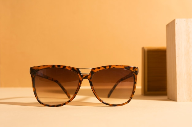 Close-up retro sunglasses with plastic frame