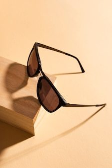Close-up retro sunglasses with shadow