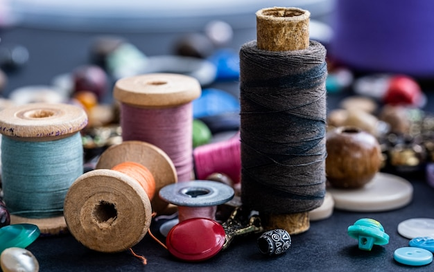 Close up of retro threads and beads assortment