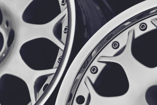 Close up of rims car alloy wheel. sport wheels.