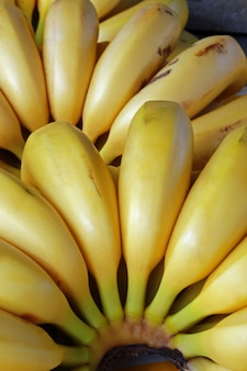 Close-up of ripe bananas in street market stall