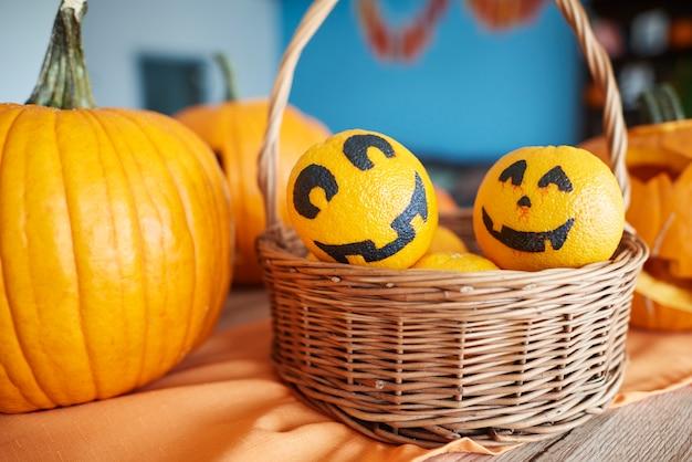 Close up on ripe and beautiful pumpkins