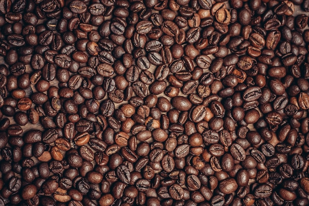 Close up on roasted beans of coffee texture