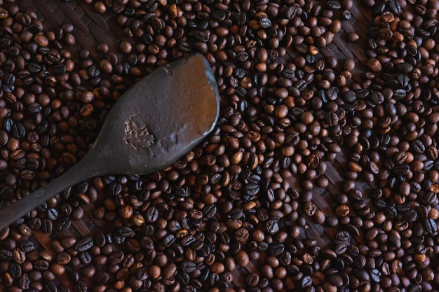 Close up of roasted coffee beans and wood paddles