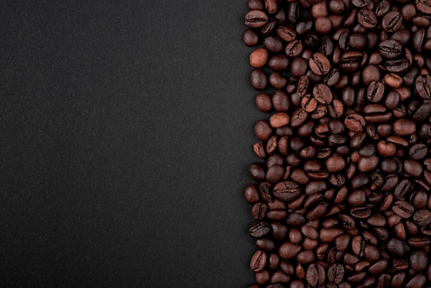 Close-up roasted coffee beans