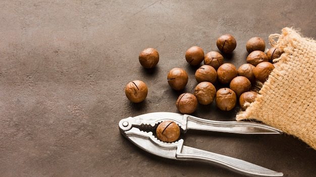 Close-up roasted hazelnuts with bag