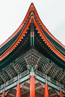 국립 대만 민주주의 광장에서 대만 국립 극장 홀의 근접 지붕 세부 사항.