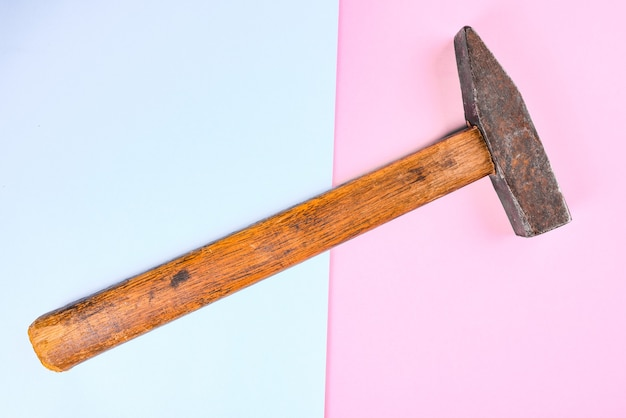 Close up of a rough hammer with copy space