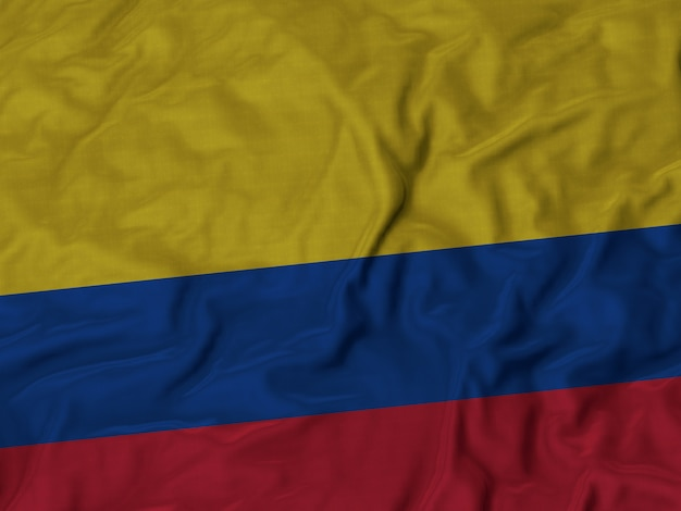 Close up of ruffled colombia flag
