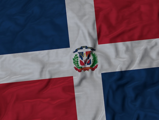 Close up of ruffled dominican republic flag