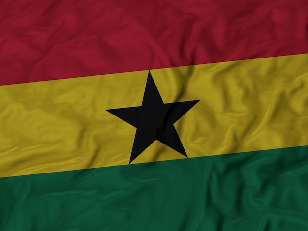 Close up of ruffled ghana flag