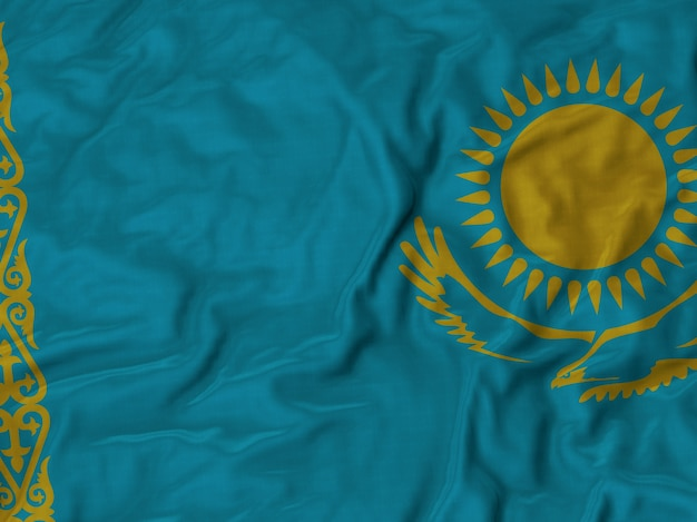 Close up of ruffled kazakhstan flag