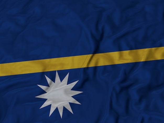 Close up of ruffled nauru flag