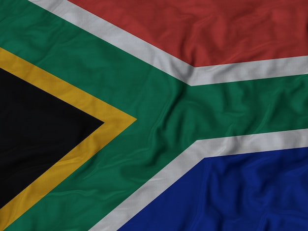 Close up of ruffled south africa flag
