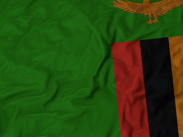 Close up of ruffled zambia flag